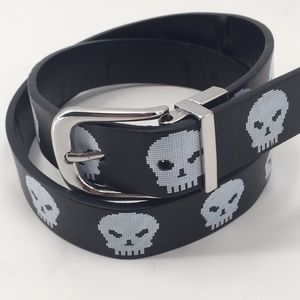 Wrangler Skull graphic black bonded leather belt
